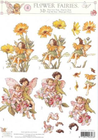 Flower Fairy 4 Marigold & Apple Blossom Fairy by Cicely Mary Barker 3d Decoupage Sheet